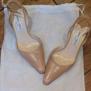 Nude Leather Pumps by Jimmy Choo